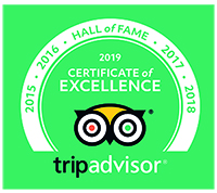 TripAdvisor Hall of Fame Certificate of Excellence 2015 | 2016 | 2017 | 2018 | 2019
